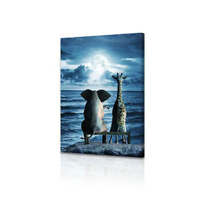 DJDL Canvas Wall Art Elephant Blue Ocean Print Painting Picture For Home Decor $12.99