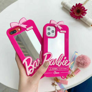 3D Pink Barbie Mirror Soft Silicone Phone Case Cover For iPhone 11 Pro Max X 7 8