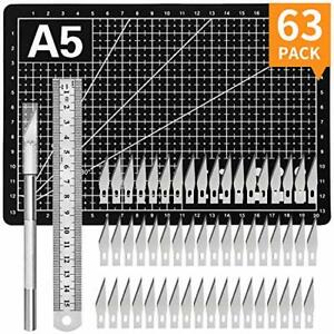 63 Kit Exacto Blades Refill Ruler Set Xacto And Crafting Hobby For Craft Cutting $9.33