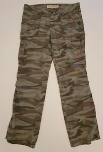 Cabelas Women's Army Green Camo Camouflage Cargo Pants Roll Tab Hunting Size 10