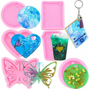 Heart Media Player Butterfly Round Keychain Epoxy Casting Resin Silicone Molds