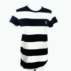 Ralph Lauren Sport T Shirt Large Black amp; White Striped Front Embroidered Logo $18.99
