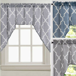 Topick Valance Swag Moroccan Tile Print for Kitchen Living Room Flax Linen Blend