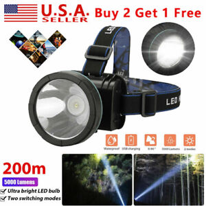 2 Modes Super Bright LED Headlamp Rechargeable Headlight 5000 Lumens For Hunting $14.84
