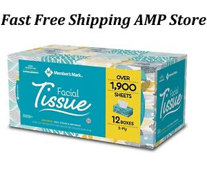 Members Mark Soft Strong Facial Tissues 12 Flat Boxes 160 2 Ply Tissues per