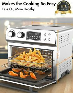 24 QT 6 Slices 10 in 1 Air Fryer Toaster Oven 1700W Oil less 150℉ 450℉ ETL US