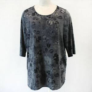AnyWear by Catherines Plus Gray Floral Top Blouse Tunic 4X 30 32W $29.99