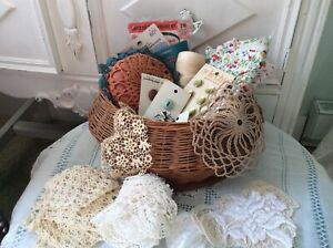 Antique sewing basket filled with buttonslacematerialthread and vintage items $25.99