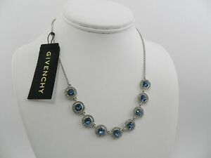 Givenchy Silver Tone Stone Crystal Statement Necklace 16 3 Extender $22.99