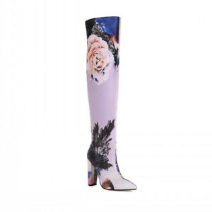 Women Sexy Pointy Toe Flowers Print Stretchy Over The Knee Boots Club 41 42 43 L $67.25