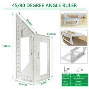 Multifunctional Square 45 90 Degree Gauge Angle Ruler Use Measuring Home W6K2 $10.25