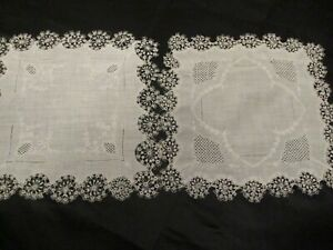 2 Vintage Madeira hand Embroidered White hand tatted hankies wedding bridal $25.00