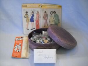 Woven Basket Sewing Box Filled w Notions Hand Sew Machine Pinking Shears $12.50