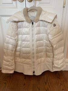 Moncler women white ivory puffer Jacket coat with sheep fur collar size 5 $255.00