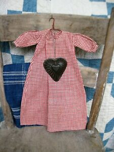 Early Antique Doll Dress Red amp; White Gingham Treadle Machine Sewn w Tin Heart $98.00