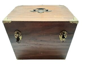 Vintage Wooden Box Brass Corners Sewing Storage 14quot; X 12quot; x 10quot; Fabric Inside $59.54