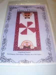 GINGERBREAD TABLE RUNNER CHRISTMAS SEWING WALL HANGING Quilt Pattern 17X36 $9.99