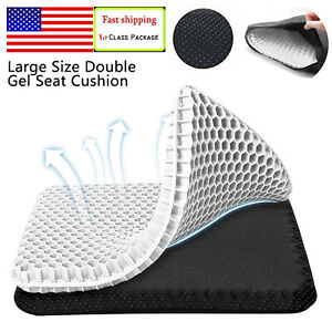 White Square Gel Seat Cushion Double Thick Chair Soft Pads With Non Slip Cover