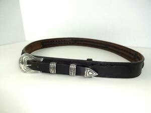 OLD CHACON 4PC STERLING BUCKLE KEEPERS TIP RANGER SET BLACK BRAIDED BELT 34 $149.99