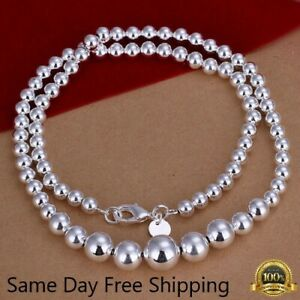 Womens 925 Sterling Silver Hollow Balls Beads Chain Necklace #N169 $4.99