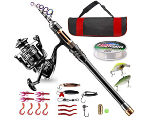 NEW Saltwater Surf Fishing Rod and Reel Combos Full Kit 12ft Blue Fishing Rod