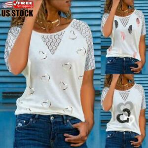 Women#x27;s Lace Round Neck Tops T Shirt Ladies Summer Casual Heart Print Blouse Tee