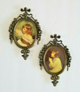Vintage Small Oval Picture Frame Metal Ornate Made in Italy 2.5quot;x3.25quot; Set of 2 $21.21