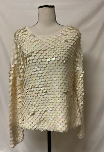 ESCADA Margaretha Ley Ivory Full Sequined Knit Sweater Made In Italy Sz.40 M L $85.00