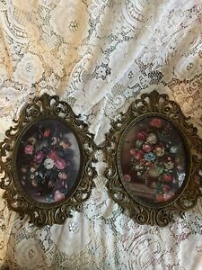 Two Brass Ornate Frames with Flowers Vintage Victorian With Raised Glass $18.00