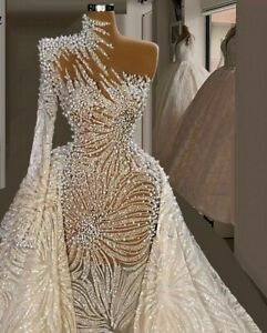 Wedding Dress Bridal Gowns Heavy Sewing Crystals Beaded Lace Chiffon Mermaid New $1557.99