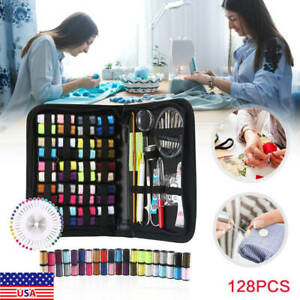 128 Home Sewing Kit Case Portable Travel Emergency Professional Sewing Set Tool $8.85