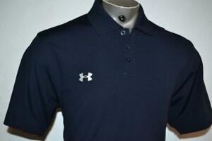 23060 a Mens Under Armour Golf Polo Shirt Size Large Blue Polyester $22.79
