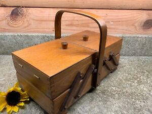 Vintage Small Wooden Accordion Fold Out Sewing Box Organizer Carrier $24.95