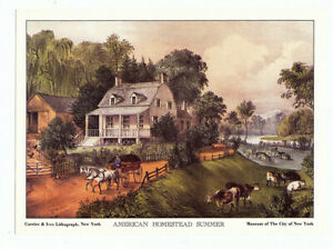 CURRIER amp; IVES Lithograph Cards Set of 4 American Homestead Four Seasons 5x7 $7.25