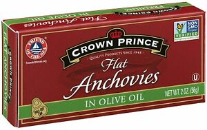 Crown Prince Flat Anchovies in Olive Oil 2 Ounce Cans Pack of 12