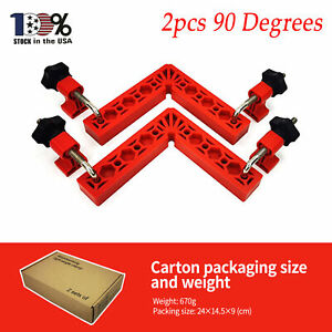 2pcs 90 Degrees Positioning Squares Right Angle Clamps Carpenter Tool Red $27.29