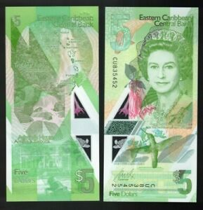 2021 East Caribbean states 5 dollar Banknote Polymer UNC Pnew QEII $4.95
