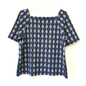 Loft Womens Blouse Stretch Knitted Square Neckline Short Sleeves size L $14.95