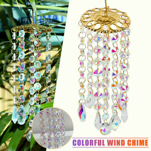 Colorful Crystal Wind Chimes Glass Garden Outdoor Patio Hanging Decor Gift tool