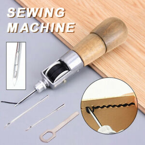 Hand Manual Leather Sewing Punch Awl Kit DIY Stitcher Tools with 2 Needles USA $12.19