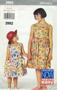 Pattern Butterick Sewing Girls Easy See amp; Sew Dress Sz 7 14 Vintage 1998 New OOP $3.60