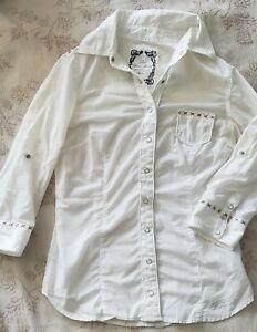 Guess Jeans White Shirt with Gold accent. Snap up sleeve adjustable 3 4 to 1 2 $28.00