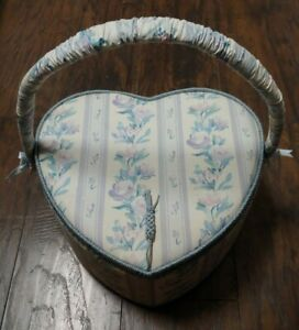 Vtg Fabric Covered Sewing Storage Box Basket Heart Shaped Floral Padded w Liner $17.50