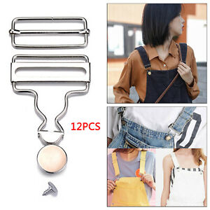 12Pcs Metal Suspender Buckles Gourd Button DIY Sewing Jeans Accessories $11.21