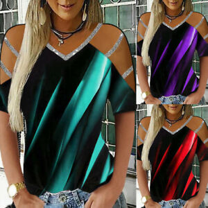 Discount Women#x27;s Aurora Print Sexy Short Sleeve Top Multicolor Available