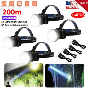 1 4Pcs 5000LM Super Bright LED Headlamp Rechargeable Headlight Torch for Hunting $13.28