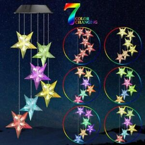 LED Solar Star Wind Chimes 7 Color Changing Lights Garden Yard Decor Waterproof $11.98