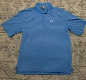 Under Armour Golf Polo Shirt Men's Large UA Casual Collared Blue White Striped $9.52