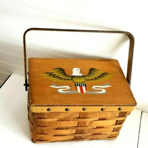 Vintage SCOVILL DRITZ Sewing Basket Wood Top Painted Eagle Made in Japan $41.61