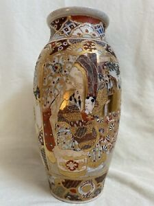 Satsuma Meiji Period Vase Gold Hand Painted with Figural Scenes Antique Japan